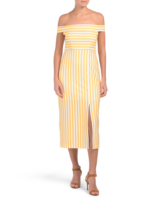 Off The Shoulder Stripe Midi Dress