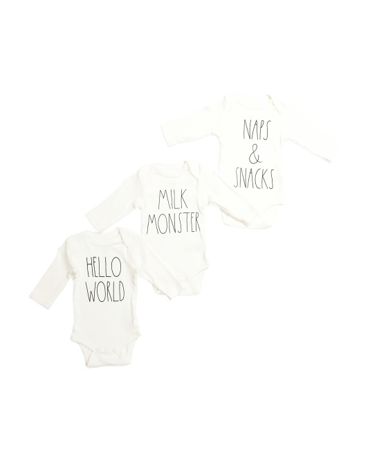 Baby 3pk Long Sleeve Novelty Bodysuits