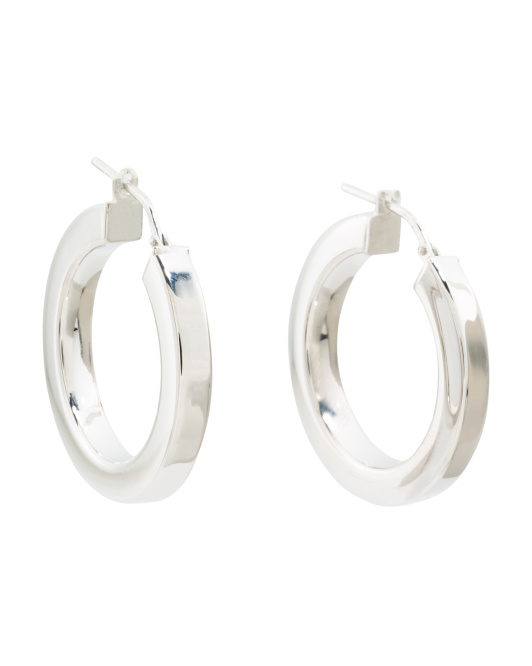 Made In Italy Sterling Silver Square Tube Hoops Earrings