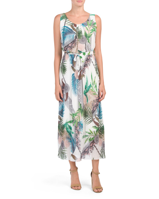 Made In Italy Pleated Abstract Maxi Dress