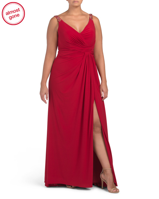 Plus V Neck Gown With Shoulder Accent