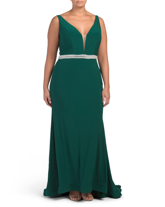 Plus V-neck Gown With Jewel Belt Detail