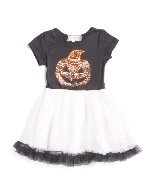 Little Girls Sequin Jack O' Lantern Tutu Dress