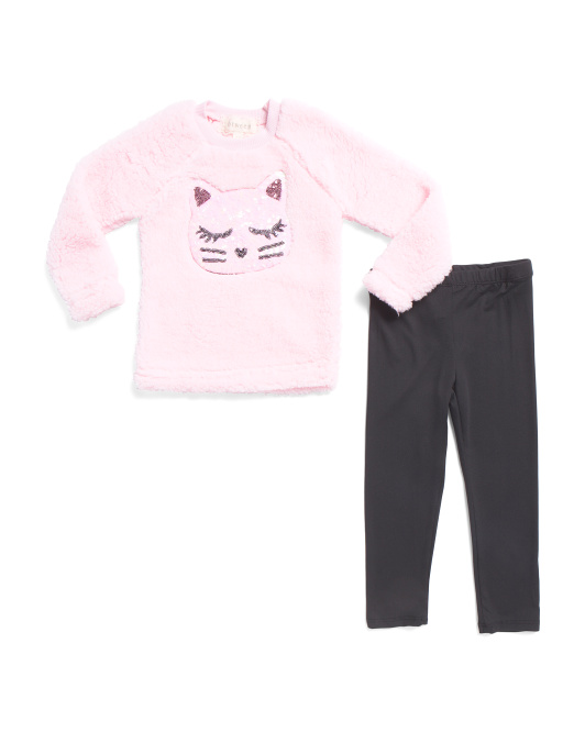 Toddler Girls 2pc Sequin Kitty Pant Set