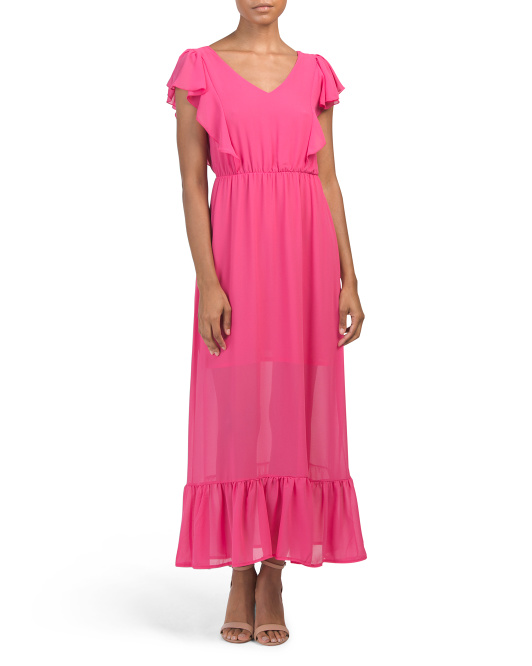 Made In Italy Ruffle Midi Cocktail Dress