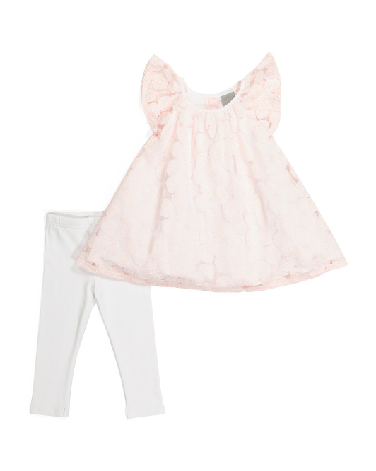 Infant Girls Lace Ruffle Tunic & Legging Set