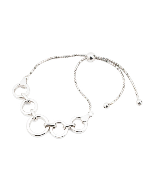 Made In Italy Sterling Silver Circle Link Bracelet