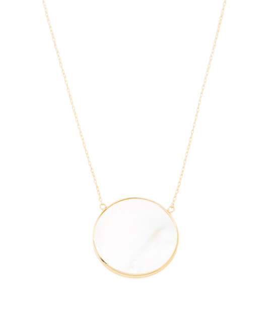 Made In Usa 14k Gold Mother Of Pearl Disk Necklace