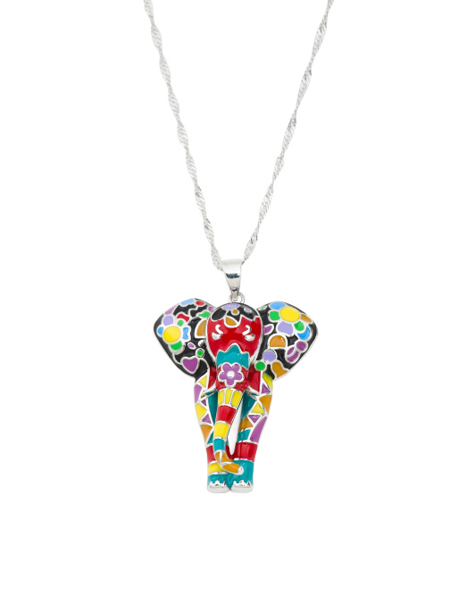 Sterling Silver Hand Painted Enamel Elephant Necklace