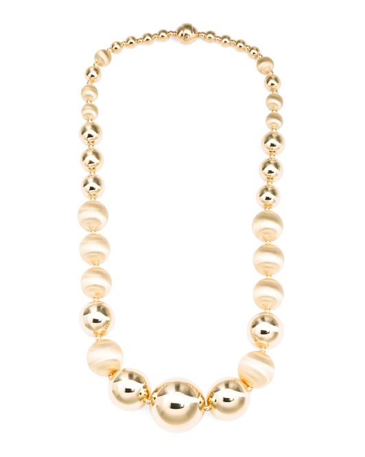 Made In Italy 14k Gold Graduated Bead Statement Necklace