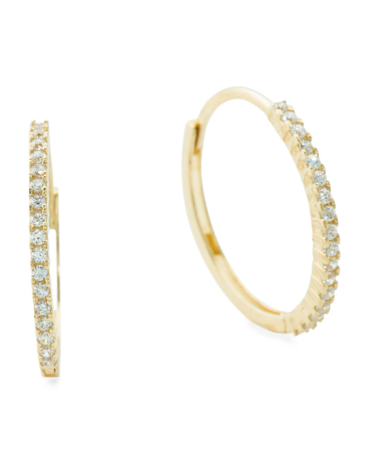 14k Gold And Cz 16mm Huggie Hoop Earrings