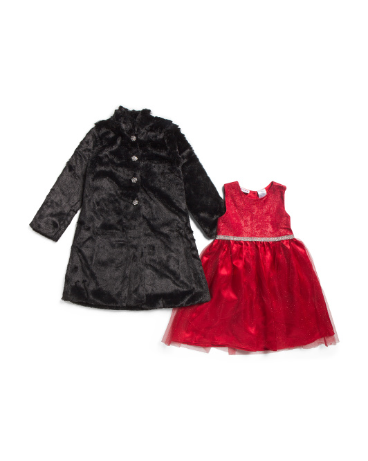 Little Girls Faux Fur Coat With Tulle Dress