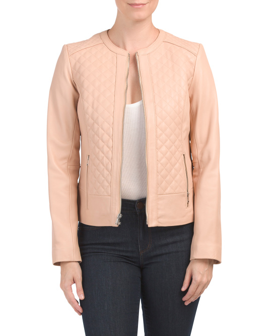 Quilted Zip Front Leather Jacket