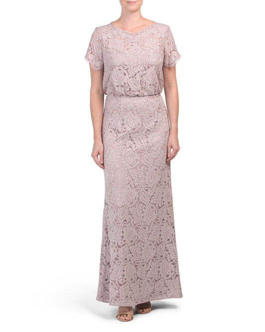 Short Sleeve Blouson Lace Gown