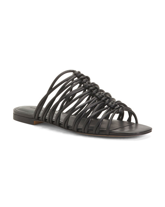 Strappy Leather Slide Sandals