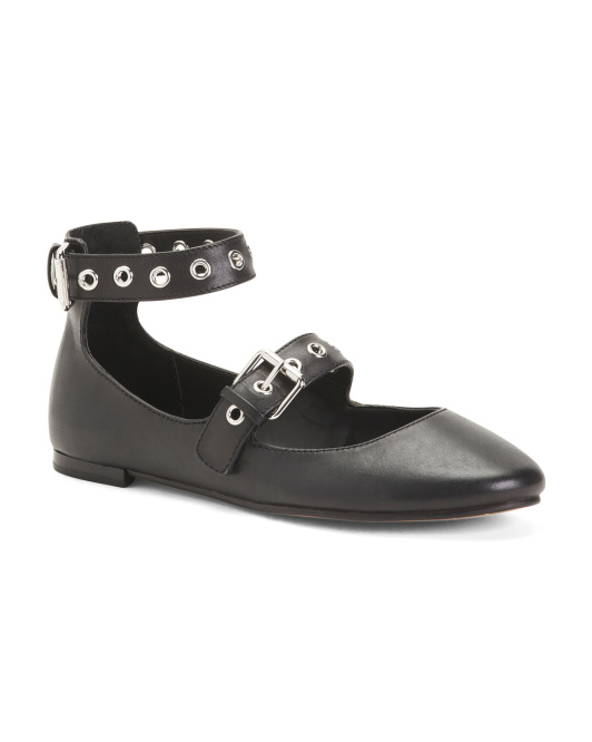 Leather Ankle Strap Ballet Flats