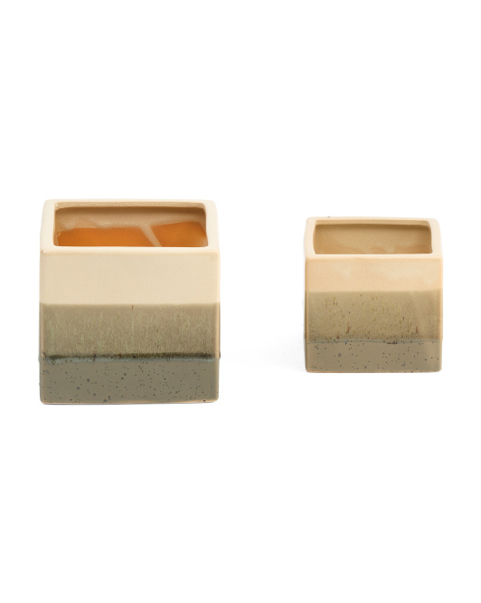 Set Of 2  Ash Ceramic Planters