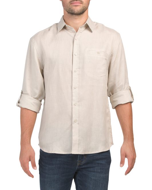 Roll Sleeve Linen Shirt With Pocket