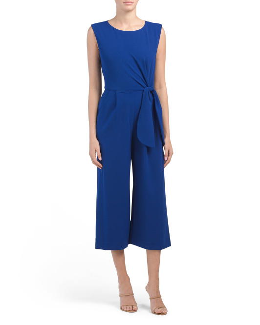 Side Tie Cropped Jumpsuit