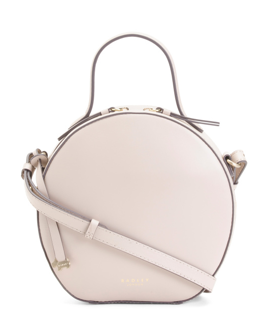 Leather Round Zip Around Crossbody