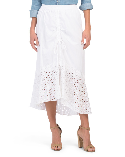 Ruched Front Eyelet Skirt