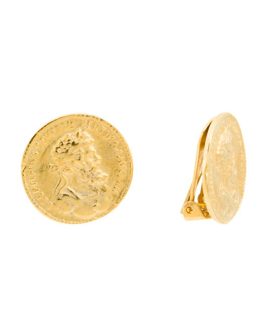 Made In Usa 24k Gold Plated Coin Clip On Earrings