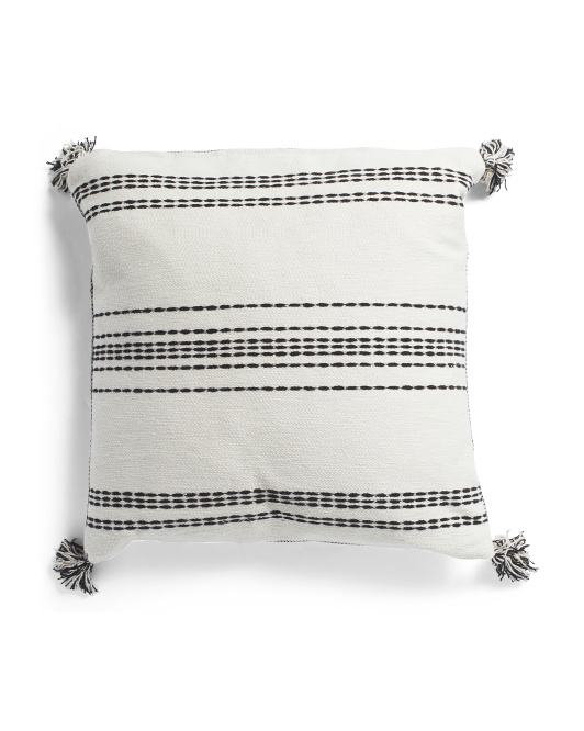 24x24 Oversized Textured Tassel Pillow