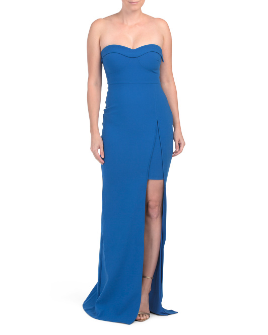 Strapless Gown With Peek A Boo Slit