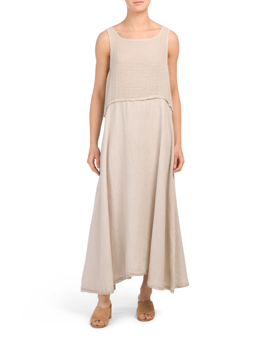 Made In Italy Knit Top Linen Maxi Dress