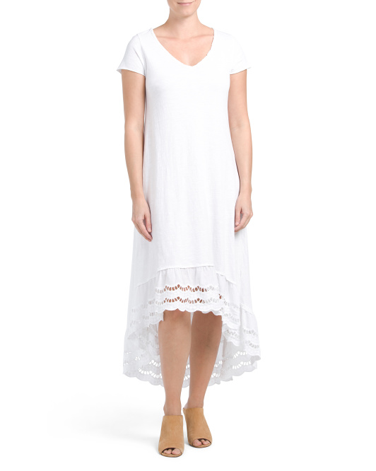 Made In Italy Hi-lo Crochet Hem Dress