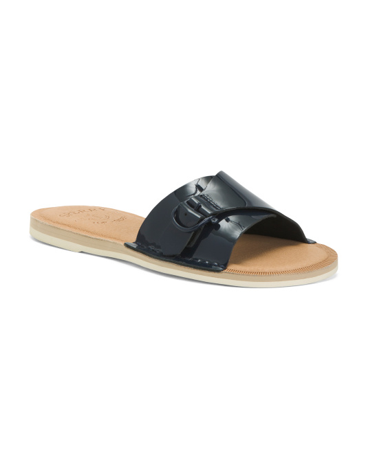 Patent Leather Slide Sandals