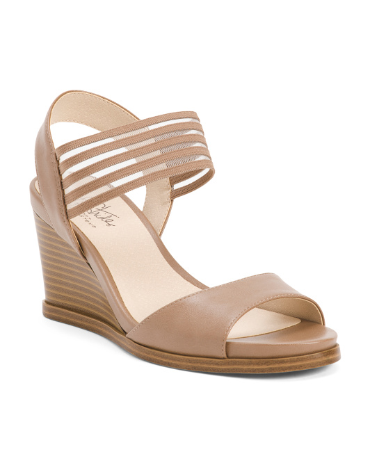 Stretch Ankle Strap Wedge Sandals