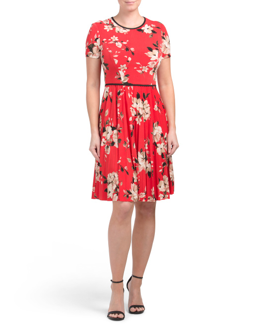 Pleated Floral Matte Jersey Dress