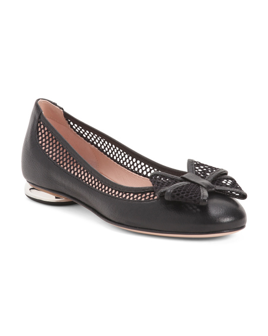 Made In Italy Leather And Mesh Ballet Flats