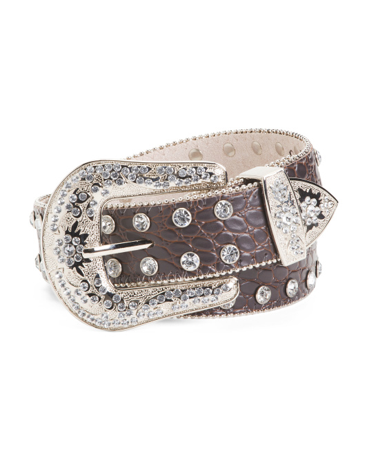 Rhinestone Leather Belt With Stone Detail