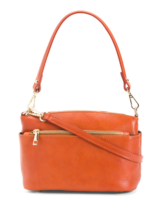 Made In Italy Leather Triple Entry Crossbody