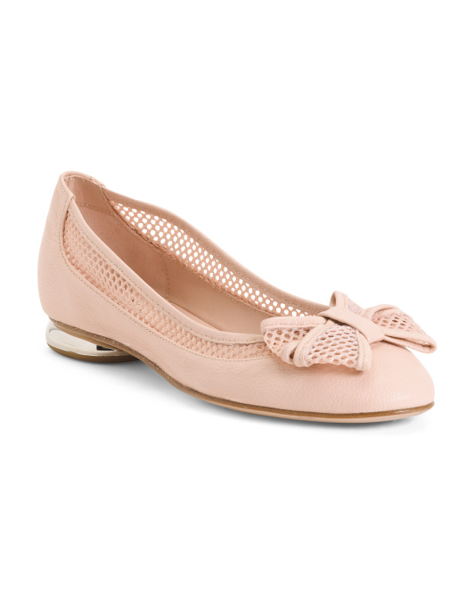 Made In Italy Leather And Mesh Ballet Flats With Bow
