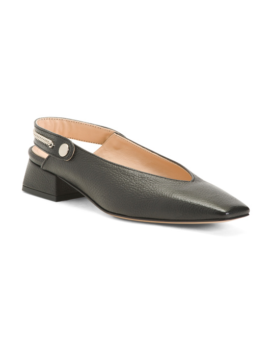 Made In Italy Square Toe Leather Block Heels