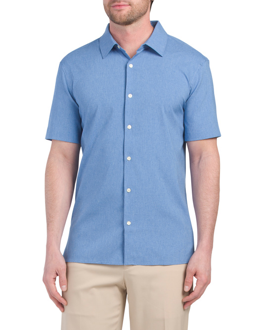 Short Sleeve Solid Heather Total Stretch Shirt