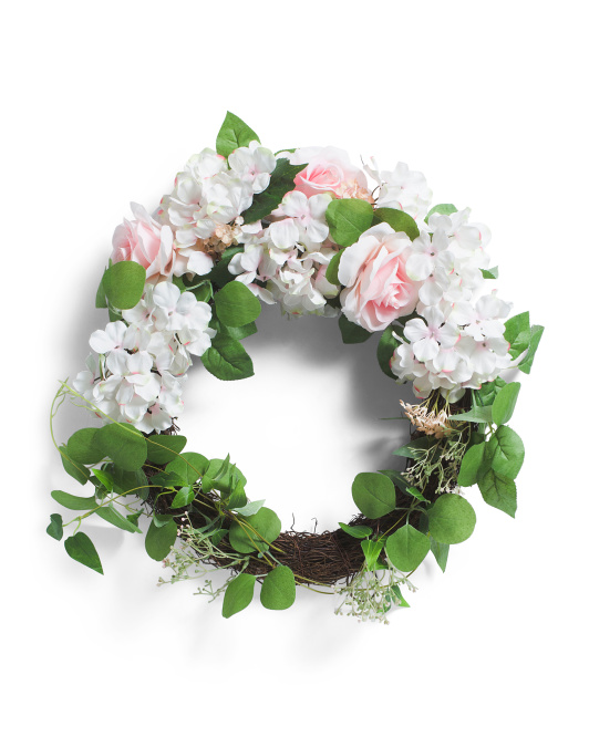 22in Hydrangea And Rose Wreath