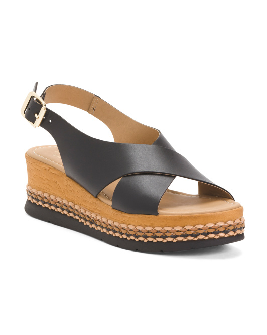 Made In Italy Cross Band Wedge Sandals