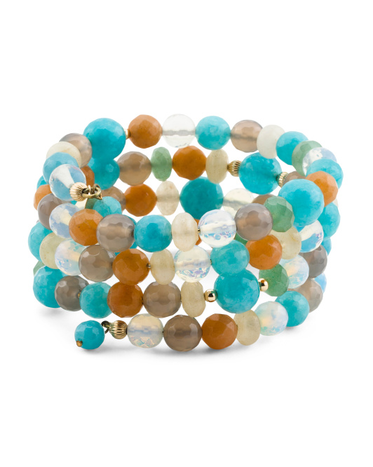 14k Gold And Multi Gemstone Wrap Bracelet