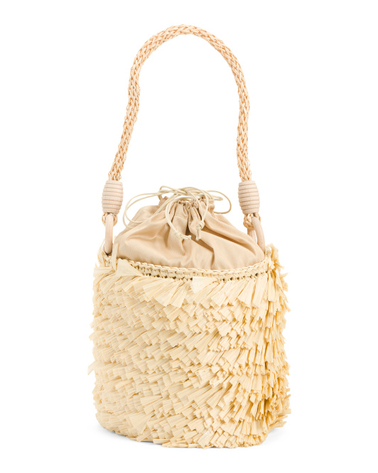 Made In Italy Fringe Straw Bucket Bag
