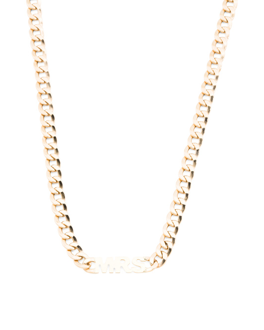 Made In Italy 14k Gold Mrs Curb Chain Necklace