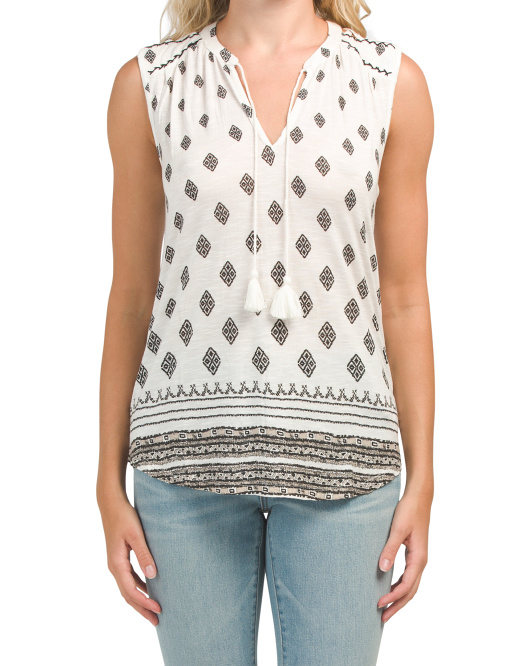 Diamond Printed Shell Top