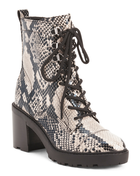 Snake Lace Up Lug Sole Boots