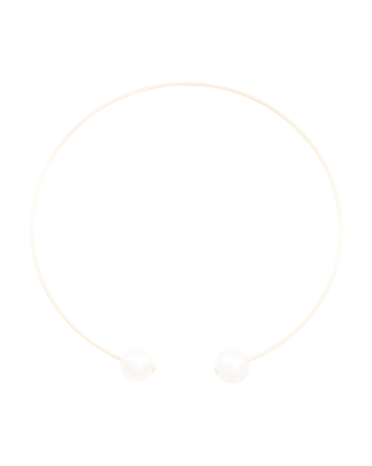 14k Gold Pearl Open Collar Necklace