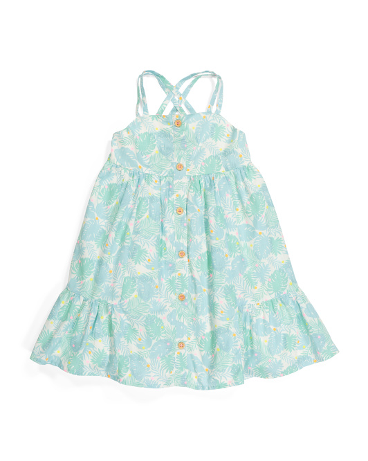 Toddler Girls Tropical Palm Dress