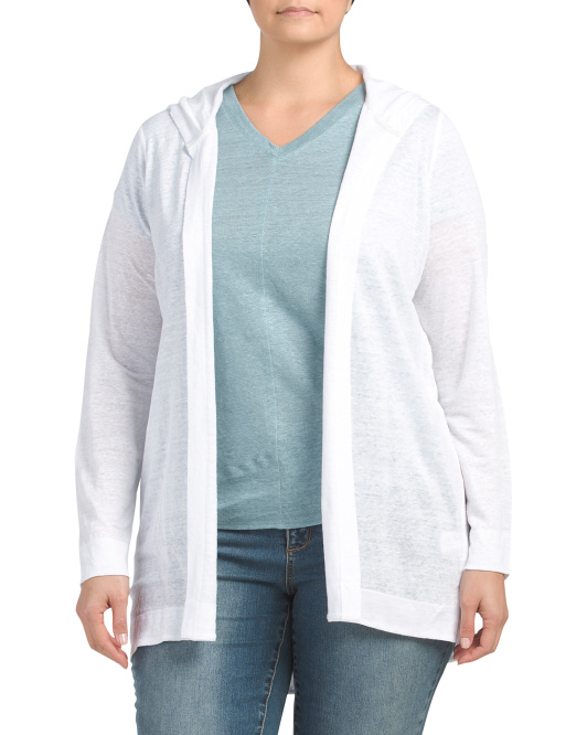 Plus Long Sleeve Hooded Open Front Linen Top