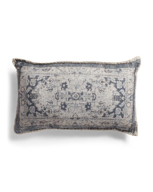16x26 Boho Printed Linen Look Pillow